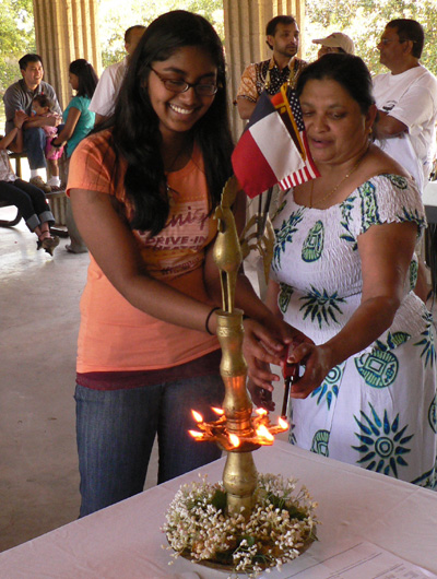 Lighting the oil lamp